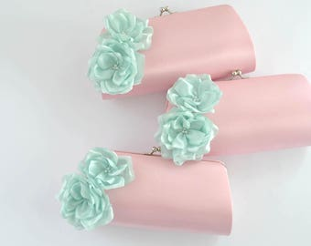 PINK and MINT- Wedding clutch - Custom clutch - Bridal/Bridesmaid/Prom