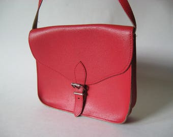 Small square red leather vintage purse  buckle closure adjustable cross body bag