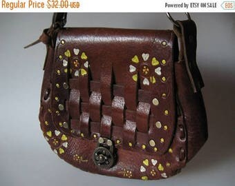 Summer Sale Dark sienna brown tooled vintage leather purse painted floral heart boho bag large stitch detail woven flap lock closure