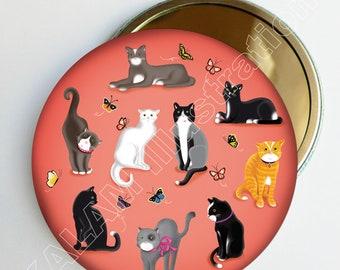 """Petit miroir de poche """"chats"""" fond corail, accessoire de sac, cadeau fille, chat noir blanc gris"""
