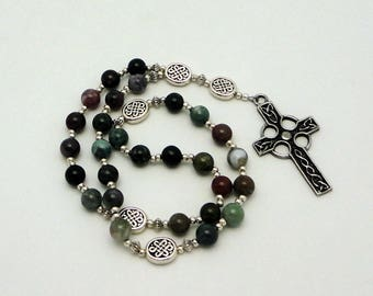 Protestant Prayer Beads / Anglican Rosary in Fancy Jasper with Pewter Celtic Cross