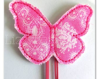 Beautiful pink butterfly Planner clip, bookmark, planner bow clip, bow bookmark, pink floral design butterfly