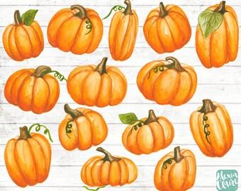 Pumpkin Clipart - Watercolour Halloween - Planner Digital Clip Art - invitation clipart - Halloween clipart - Pumpkin watercolour - GA18