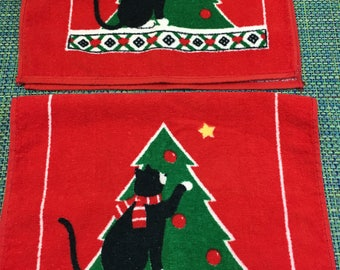Vintage Red Holiday Black Cat Terry Kitchen Towel Set of 2 -retro kitchen towel,holiday kitchen towel,terry towel with cat, cat towel