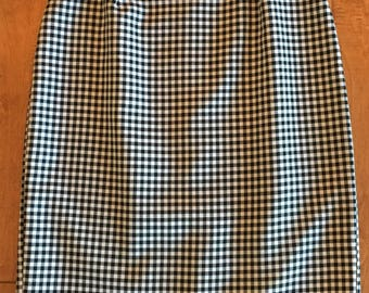 Vintage Black and White Houndstooth Pencil Skirt Size 5/6 Fully Lined- houndstooth skirt, vintage pencil skirt, black and white skirt