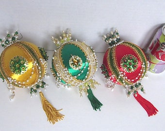 Vintage Christmas Ornaments 1960s Decorations Jeweled Green Red Gold  Handmade Large 6 inches Long Set of 3