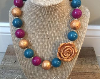 Chunky Bubblegum Bead Necklace in Teal and Purple with Gold Rose