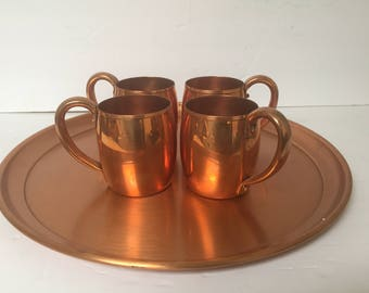 Vintage Copper Tray with 4 Copper Mugs Moscow Mule