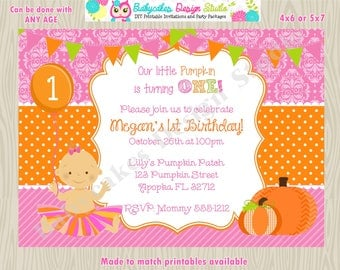 Pumpkin birthday invitation pumpkin 1st birthday invitation pumpkin invitation pumpkin 1st birthday party printable DIY Print your own