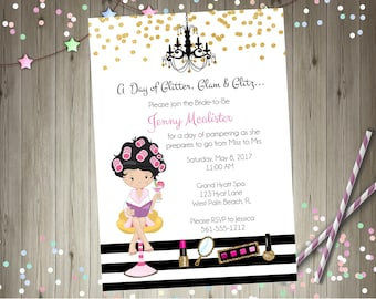 Bridal party spa day invitation invite spa party bridal shower invitation pamper party glamour printable CHOOSE YOUR GIRL