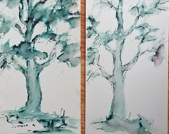 Two Original Watercolor and ink impressionistic landscapes each 9x5 Study of two trees