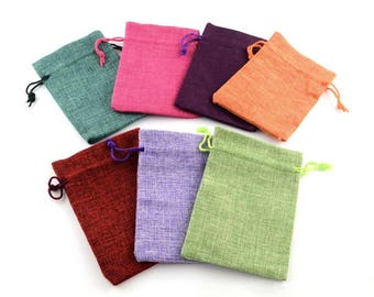 "Burlap Bags Burlap Pouches Gift Bags Drawstring Bags Wholesale Bags Jewelry Storage Bags Assorted Colors 3.5"" x 2.75"" 15 pieces"