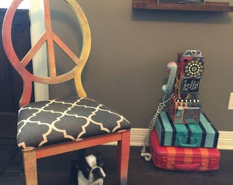PEACE Sign Chair One of a KIND Hand painted cute and Whimsy this awesome one shown