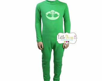 Gekko PJ Mask-Unitard Green/Child ---Mock Neck Unitard....Colors Available great for COSTUMES/HALLOWEEN