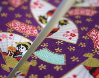 Geisha Fans - Japanese print cotton Fabric Sticker/Tape (1 tape = 5 cm x 1m)