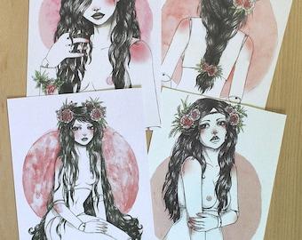 Set 4 postcards dolls dollfie bjd pink