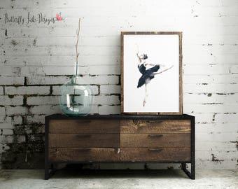 Ballerina Print  | Dance Print | wall art | Ballet wall art | Home Decor | Black & White Ballerina