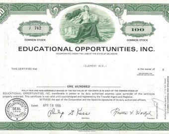 Vintage Educational Opportunities, Inc. Original Stock Certificate (green), 1970s