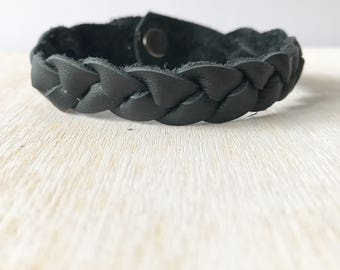 Braided leather bracelet - Raven