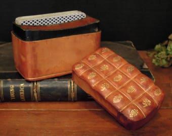 Vintage Italian Florentine Leather Box / Vintage Playing Card Box / Gold Gilt details / Storage Box
