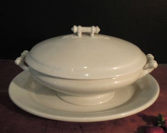Antique 1800's Meakin Ironstone Covered Tureen Ironstone Platter  / Casserole / Ironware Soup Tureen / England