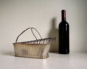 French Wine Basket , Metal Wine Serving Basket , Wine Bottle Carrier , Silver Plated Wine Basket , Vintage French Country Decor