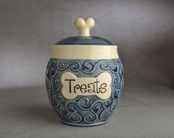 "Dog Treat Jar Ready To Ship ""Treats"" Denim Blue Curls Treat Jar by Symmetrical Pottery"