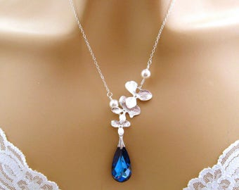 Romantic Necklace: Silver Orchid Necklace, Pearl, Blue Swarovski Crystal Bridal Necklace, Romantic Jewelry, Blue Wedding Necklace Sterling