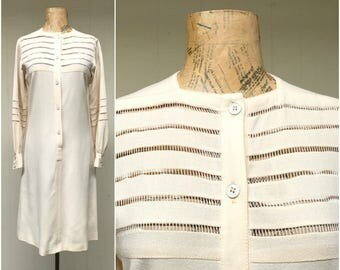 Vintage 1970s Dress / 70s Ivory Wool Shirt Dress with Fagotting Detail/ Small