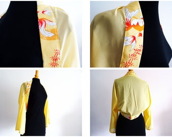 Boléro kimono jaune, poissons japonais T40/44