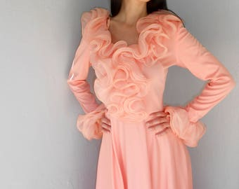 Vintage 1970s UNION MADE sheer-ruffled peach maxi dress, size Small / Medium