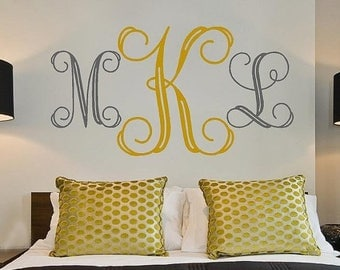 20% OFF Personalized Monogram Initials Large -bedroom Vinyl Lettering wall words graphics Home decor itswritteninvinyl
