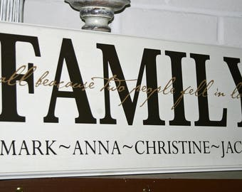 Family All because two people... Custom Personalized Wood Sign-  Decal Vinyl Lettering wall words graphics Home decor itswritteninvinyl