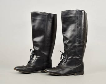 Black Leather Riding Boot (US 7.5)