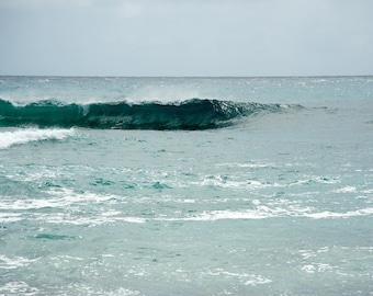 Hawaii - Cresting I - Coastal art - Ocean Wave - Nature photo -  Fine art photography - luminous jewel tones - minimalist - 8x12, 24x36