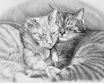 "Custom Pet Portrait 9""x12"" Pencil portrait drawing dog cat"
