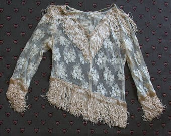Vintage 1950's Ivory Lace Fringe Shirt, Country Western Rockabilly Rodeo, Women's Western Wear, Size Small