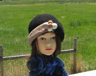 "Retro Knit Felt ""Stewy"" Hat Cloche Black Almond Beige Felted Ball Pin"
