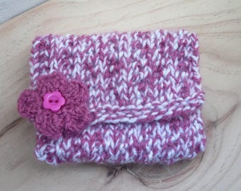 Hand Knitted Coin Purse, Pink and White with Decorative Flower