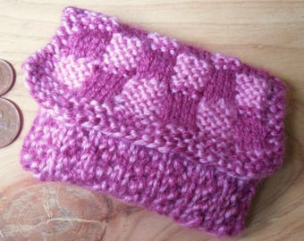 Hand Knitted Purse, Pink Checked Coin Purse