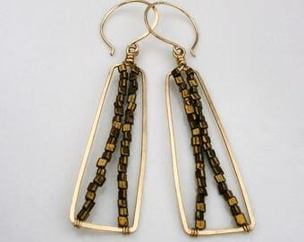 Gold Beaded Rectangle Earrings Geometric Hoop Dangles 14k Gold Fill Drop Earrings Hammered Wire Jewelry Frame Earrings Gold Bar Earrings
