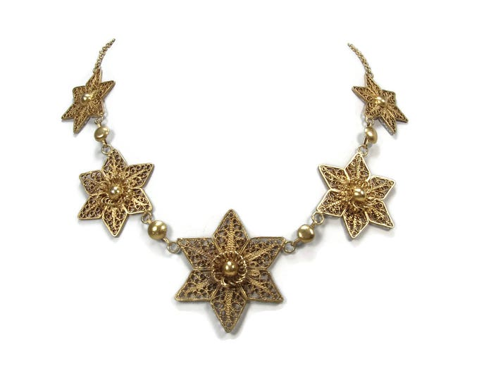 Vintage 800 Silver Filigree Star Necklace, 17 Inch, Gold Washed, Vintage Necklace, Estate Jewelry