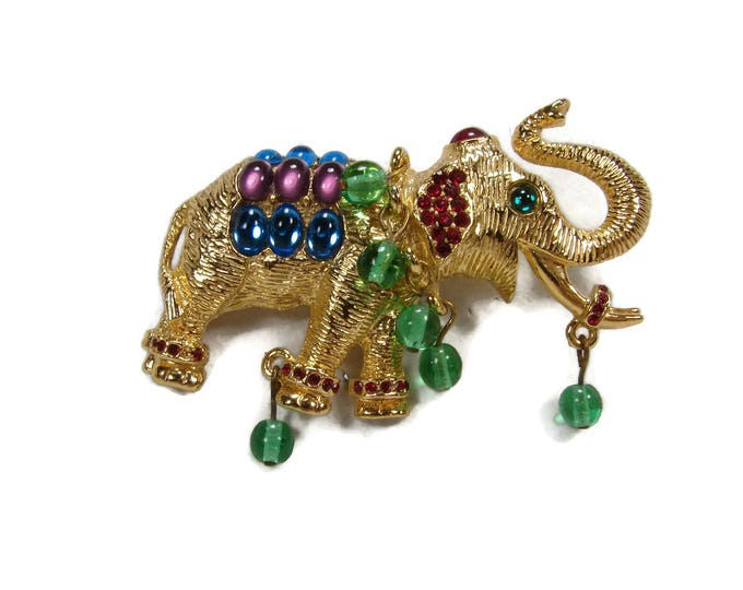 Vintage Jewels of India Cabochon Rhinestone Elephant Brooch