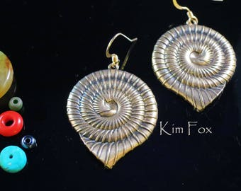Nautilus Shell Earrings that are light and sizable  in Golden Bronze by Kim Fox - for pierced ears