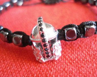 Spartan silver helmet hematite bracelet, Men's jewelry, Hematite cube bracelet, Father's day gift, Greek warrior jewelry, Protection gift.