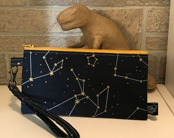 Blue and gold onstellations design zipper pouch.