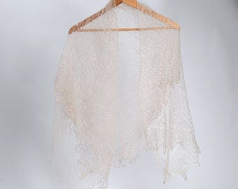 Beige Lace Shawl,knitted lace wool scarf, wedding lace shawl, orenburg lace shawl