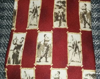 Tommy Bahama Tie Men's Necktie Vintage Black and White Sepia Tone Golf Theme Pattern Maroon Red with Palm Tree Logo Dress Office Work Attire