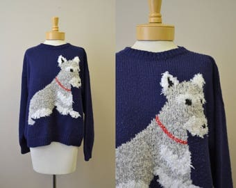 1980s Schnauzer Dog Sweater