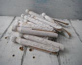 french script weathered pegs old fashioned pegs hand stamped primitive pegs rustic white stamped pegs dolly pegs shabby cottage chic 6 PC